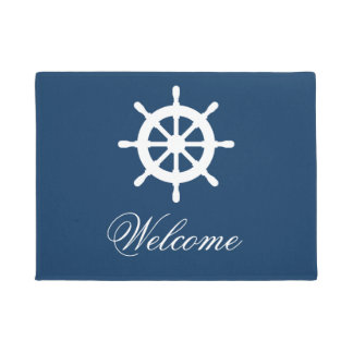 Navy blue and white nautical custom door mat