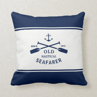 Navy Blue and White Nautical Label Throw Pillow