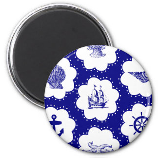 Navy Blue and White Nautical Pattern Magnet