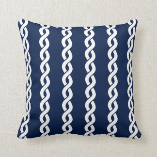 Navy Blue and White Nautical Rope Pillow