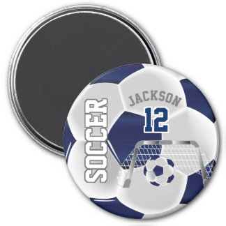 Navy Blue and White Personalize Soccer Ball Magnet