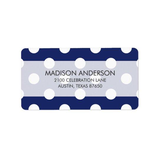 Navy Blue and White Polka Dot Pattern Address Label