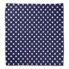 Navy Blue and White Polka Dot Pattern Bandana