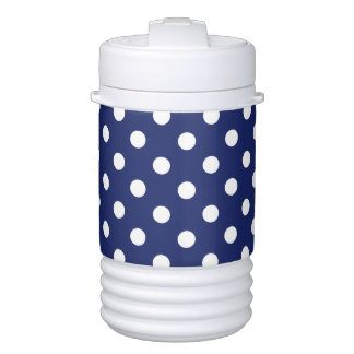 Navy Blue and White Polka Dot Pattern Cooler