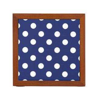 Navy Blue and White Polka Dot Pattern Desk Organiser