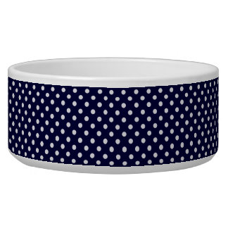 Navy Blue and White Polka Dot Pattern Dog Water Bowl