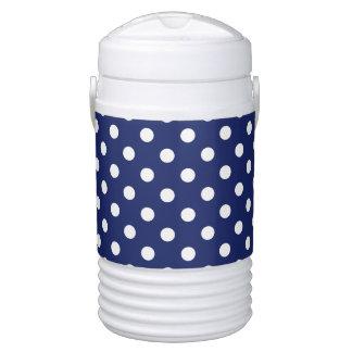 Navy Blue and White Polka Dot Pattern Drinks Cooler