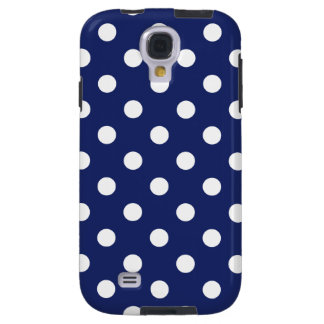 Navy Blue and White Polka Dot Pattern Galaxy S4 Case
