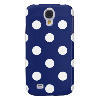 Navy Blue and White Polka Dot Pattern Galaxy S4 Cover