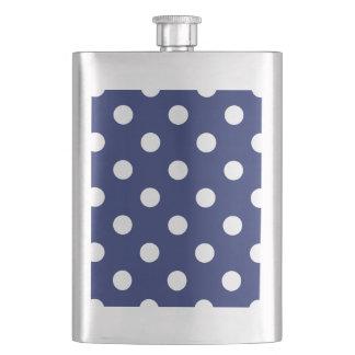 Navy Blue and White Polka Dot Pattern Hip Flask
