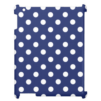 Navy Blue and White Polka Dot Pattern iPad Cases