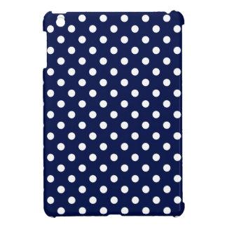 Navy Blue and White Polka Dot Pattern iPad Mini Cases