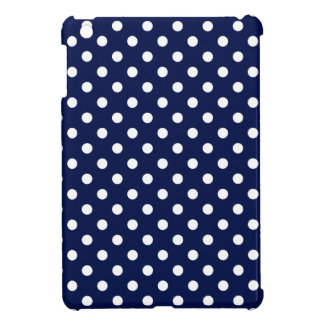 Navy Blue and White Polka Dot Pattern iPad Mini Cover