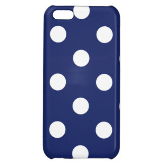 Navy Blue and White Polka Dot Pattern iPhone 5C Case