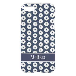 Navy Blue And White Polka Dot Pattern iPhone 8/7 Case
