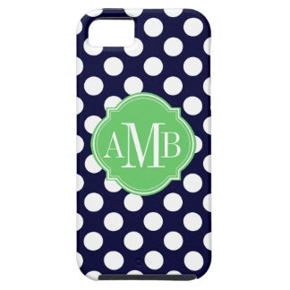 Navy Blue and White Polka Dot Pattern Monogram Case For The iPhone 5