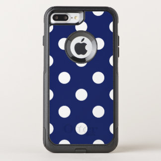 Navy Blue and White Polka Dot Pattern OtterBox Commuter iPhone 8 Plus/7 Plus Case