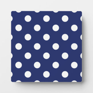 Navy Blue and White Polka Dot Pattern Plaque
