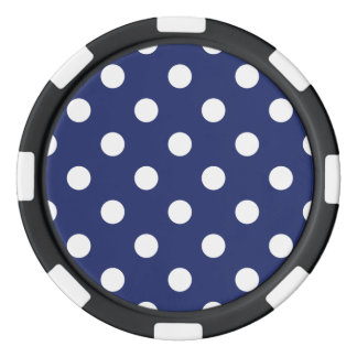 Navy Blue and White Polka Dot Pattern Poker Chips