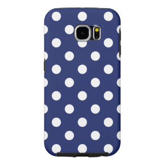 Navy Blue and White Polka Dot Pattern Samsung Galaxy S6 Cases