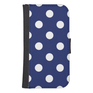 Navy Blue and White Polka Dot Pattern Samsung S4 Wallet Case
