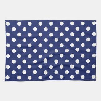 Navy Blue and White Polka Dot Pattern Tea Towel