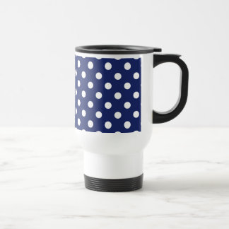 Navy Blue and White Polka Dot Pattern Travel Mug