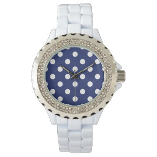 Navy Blue and White Polka Dot Pattern Watch