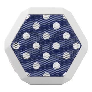 Navy Blue and White Polka Dot Pattern White Bluetooth Speaker