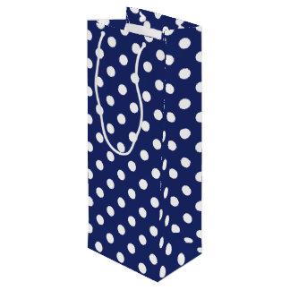 Navy Blue and White Polka Dot Pattern Wine Gift Bag