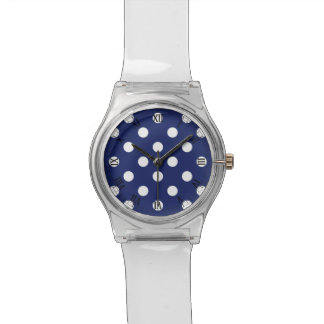 Navy Blue and White Polka Dot Pattern Wrist Watches