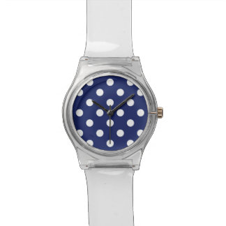 Navy Blue and White Polka Dot Pattern Wristwatch