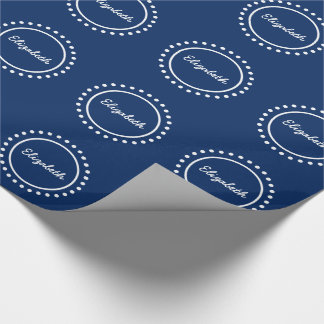 Navy Blue and White Polka Dot Personalized Wrapping Paper