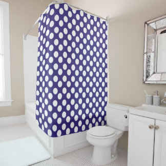 Navy Blue and White Polka Dot Shower Curtain