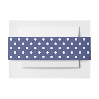 Navy Blue and White Polka Dots Invitation Belly Band