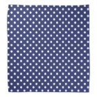 Navy Blue and White Polka Dots Pattern Bandana