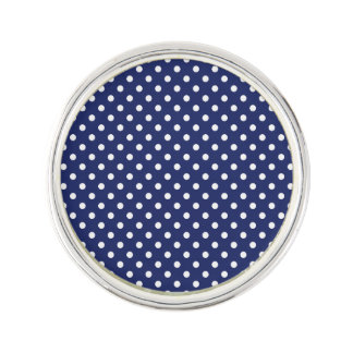 Navy Blue and White Polka Dots Pattern Lapel Pin