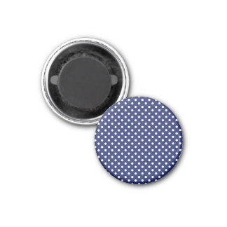 Navy Blue and White Polka Dots Pattern Magnet