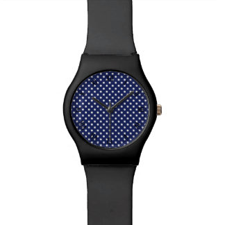 Navy Blue and White Polka Dots Pattern Wrist Watch