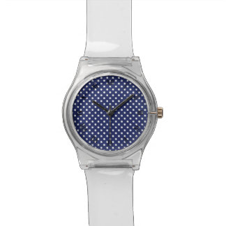 Navy Blue and White Polka Dots Pattern Wristwatches