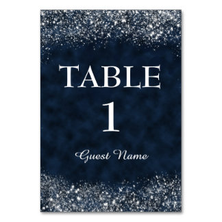 Navy Blue and White Stardust Reception Place Card
