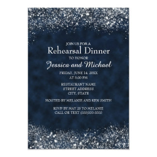 Navy Blue and White Stardust Wedding Rehearsal Card