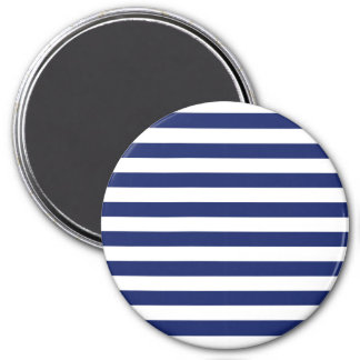 Navy Blue and White Stripe Pattern 7.5 Cm Round Magnet