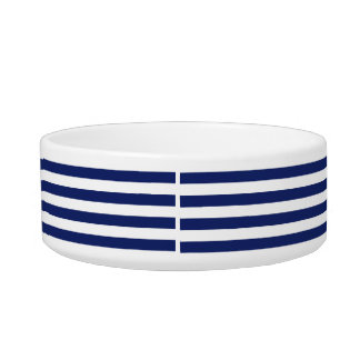 Navy Blue and White Stripe Pattern Bowl