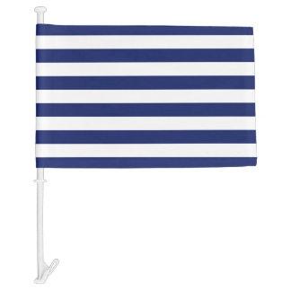 Navy Blue and White Stripe Pattern Car Flag