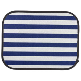 Navy Blue and White Stripe Pattern Car Mat