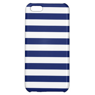 Navy Blue and White Stripe Pattern Case For iPhone 5C