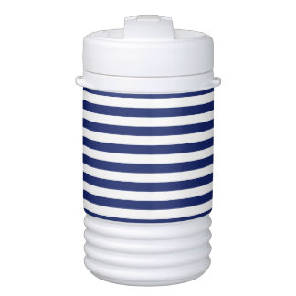 Navy Blue and White Stripe Pattern Cooler
