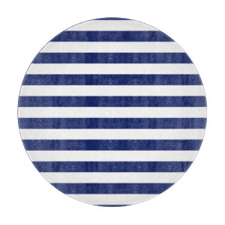 Navy Blue and White Stripe Pattern Cutting Board