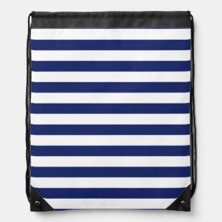 Navy Blue and White Stripe Pattern Drawstring Bag